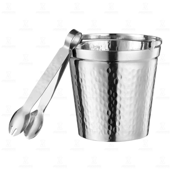Stainless Steel Hammered Small Table Ice Bucket Amp Tongs
